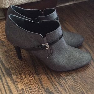 Gray with black buckle booties